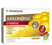 Arkoroyal Dynergie Ginseng Gelée royale Propolis Solution buvable 20 Ampoules/10ml à AYGUESVIVES